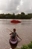 BRISBANE, AUSTRALIA - 12 DE ENERO: Inundación fotos de archivo