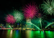 BRISBANE, AUSTRALIA, DEC 23 2016: Colorful fireworks over night Stock Photos
