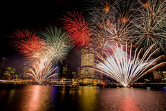 BRISBANE, AUSTRALIA, DEC 23 2016: Colorful fireworks over night Stock Photography