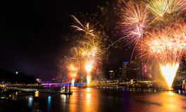 BRISBANE, AUSTRALIA, DEC 31 2016: New Year fireworks at Southban Stock Photos