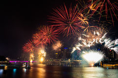 BRISBANE, AUSTRALIA, DEC 31 2016: New Year fireworks at Southban. BRISBANE, AUSTRALIA, DEC 31 2016: New Year fireworks over night sky at Southbank, Brisbane Royalty Free Stock Photography