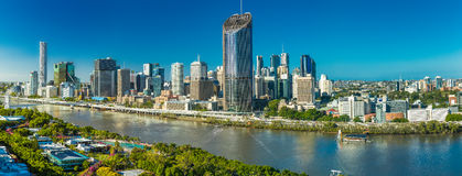 BRISBANE, AUSTRALIA - Dec 29 2016: Panoramic areal image of Brisbane CBD and South Bank. Brisbane is the capital of QLD and the third largest city in Australia royalty free stock photography