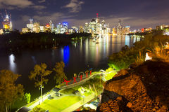 BRISBANE, AUSTRALIA - 27 MAY 2015: The inner-city of Brisbane City and river view  from Kangaroo Point on 27th May 2015. Royalty Free Stock Images