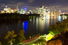 BRISBANE, AUSTRALIA - 27 MAY 2015: The inner-city of Brisbane City and river view  from Kangaroo Point on 27th May 2015. Royalty Free Stock Photo