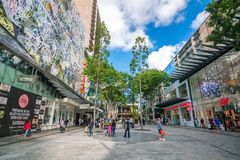 Queen Street Mall in Brisbane. BRISBANE, AUSTRALIA - MAY 20 : Visitors at Queen Street Mall.It is a pedestrian mall with more than 700 retailers on May 20, 2017 Royalty Free Stock Images