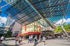 Queen Street Mall in Brisbane. BRISBANE, AUSTRALIA - MAY 20 : Visitors at Queen Street Mall.It is a pedestrian mall with more than 700 retailers on May 20, 2017 Stock Photos