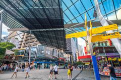 Queen Street Mall in Brisbane. BRISBANE, AUSTRALIA - MAY 20 : Visitors at Queen Street Mall.It is a pedestrian mall with more than 700 retailers on May 20, 2017 Royalty Free Stock Image