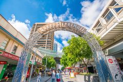 Queen Street Mall in Brisbane. BRISBANE, AUSTRALIA - MAY 20 : Visitors at Queen Street Mall.It is a pedestrian mall with more than 700 retailers on May 20, 2017 Stock Photo