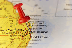 Brisbane Australia, pinned map. Copy space available Stock Photography
