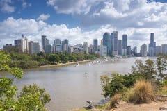 Brisbane, Australia - 26 settembre 2014: Vista dal punto del canguro che trascura la città ed il fiume di Brisbane durante il gio Fotografia Stock