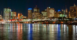Brisbane, Australia, skyline at night. With river and skyscrapers Royalty Free Stock Photography