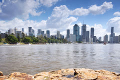 Brisbane, Australia - 26th September, 2014: View from Kangaroo point in Brisbane where tourists visit to see the city and families Royalty Free Stock Image