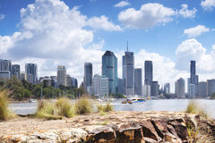 Brisbane, Australia - 26th September, 2014: View from Kangaroo point in Brisbane where tourists visit to see the city and families Stock Photography