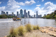 Brisbane, Australia - 26th September, 2014: View from Kangaroo point in Brisbane where tourists visit to see the city and families Stock Photo