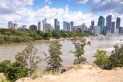 Brisbane, Australia - 26th September, 2014: View from Kangaroo point in Brisbane where tourists visit to see the city and families Royalty Free Stock Photos