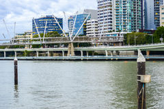 Brisbane, Australia - Tuesday 23rd June, 2015: View of Kurilpa Bridge and Brisbane City in the daytime from Southbank on Tuesday Stock Photography