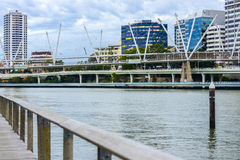 Brisbane, Australia - Tuesday 23rd June, 2015: View of Kurilpa Bridge and Brisbane City in the daytime from Southbank on Tuesday t Royalty Free Stock Photos