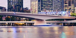 Brisbane, Australia - Tuesday 23rd June, 2015: View of Victoria Bridge and Brisbane City at night from Southbank on Tuesday the 23 Stock Photo