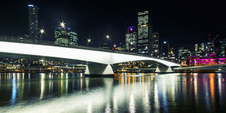Brisbane, Australia - Tuesday 23rd June, 2015: View of Victoria Bridge and Brisbane City at night from Southbank on Tuesday the 23 Stock Photos