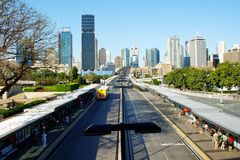 Brisbane, Australia. View of bus station and Brisbane city, Queensland Australia Stock Image