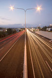 Brisbane, Australia - Wednesday 12th, 2014: Overpass looking onto the Pacific Motorway - M1 with cars travelling at night. Stock Photos