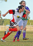 Brisbane Australia womens soccer league in middle of action match Stock Image