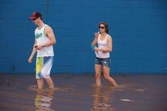 BRISBANE, AUSTRALIE - 12 JANVIER : Inondation Images libres de droits