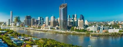 BRISBANE AUSTRALIEN - December 29 2016: Panorama- areal bild av Bris Royaltyfri Fotografi