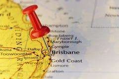 Brisbane Australien, festgesteckte Karte Stockfotografie