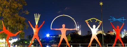 BRISBANE, AUSTRALIEN - 27. MAI 2015: Die Innenstadt der Brisbane-Stadt- und -flussansicht vom Känguru zeigen am 27. Mai 2015 lizenzfreies stockfoto