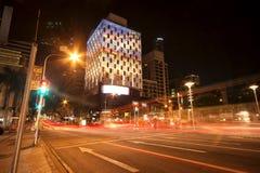Brisbane, Australien - 25. Oktober 2014: Färben Sie die Stadt, helle sichtlichanzeige in Brisbane-Stadt für die Sitzung G20 Lizenzfreies Stockbild