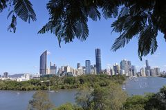 Brisbane the Capital City of Queensland State Australia. Landscape view of Brisbane the capital city of Queensland state from Kangaroo Point in Brisbane stock image