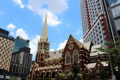 Albert Street Uniting Church in Brisbane. Brisbane is the capital of Queensland and the third largest city in Australia. Brisbane is built along the Brisbane stock image