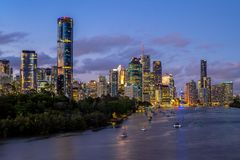 Brisbane skyline, capital of Queensland, Australia. The Brisbane central business district CBD, officially gazetted as the suburb of Brisbane City and stock image