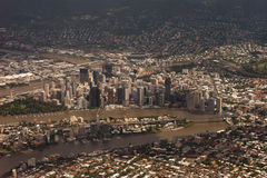 Brisbane City. Aerial photo of Brisbane City with CBD River and Bridges included stock photo