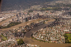 Brisbane City. Aerial photo of Brisbane City with CBD River and Bridges included stock photos