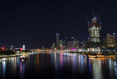 Brisbane City Australia. A night view of Brisbane city Australia from the Goodwill bridge in South bank royalty free stock image