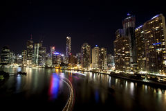 Brisbane city with boat light streaks stock photo