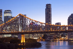 Brisbane city building, night. Brisbane City steel bridge night scenery royalty free stock photo