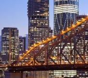 Brisbane city building, night. Brisbane City steel bridge night scenery Royalty Free Stock Photos