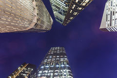 Brisbane city buildings at night. Partial close-up of modern architecture at night Royalty Free Stock Photography