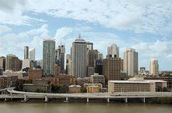 Brisbane City Centre. Seen from South Bank; in the foreground, Brisbane River, the Riverside Expressway (or Pacific Motorway) and the Casino; in the background stock photos
