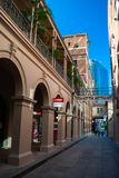 Brisbane city centre and a queit pedestrian alleyway. A narrow pedsestrian alleyway in the heart of the city stock photo