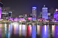 Brisbane city colourful lights over river Stock Image