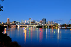 Brisbane city at dusk. Brisbane CBD skyline in twilight time stock photography