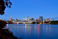 Brisbane city at dusk. Brisbane CBD skyline in twilight time royalty free stock photography