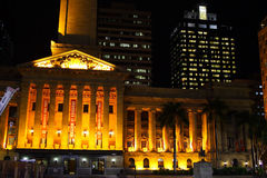 Brisbane City Hall In Night Royalty Free Stock Image