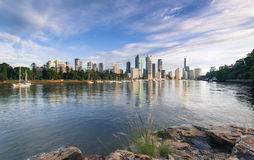 Brisbane City from Kangaroo Point at dawn. Royalty Free Stock Photo