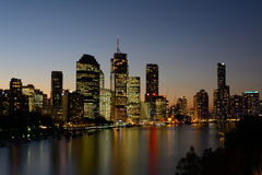 Brisbane City by Kangaroo Point Cliffs Royalty Free Stock Photo
