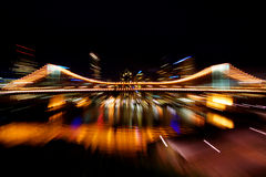 Brisbane city lights. Bright, colourful city lights in motion blur Royalty Free Stock Photos